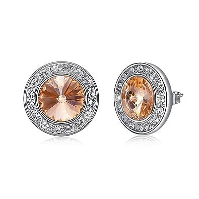 709ec1e0c SNOWH Women's 18k Earrings Cubic Zirconia - Gold Plated Studs Round Cut CZ  Rhinestone Earrings Hypoallergenic