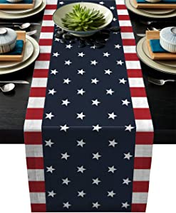 Independence Day 4th of July Table Runner Dresser Scarves,Linen Burlap Table Runners Cloth for Dinner Holiday Party, Kitchen Decor Patriotic American Flag 16x72inch