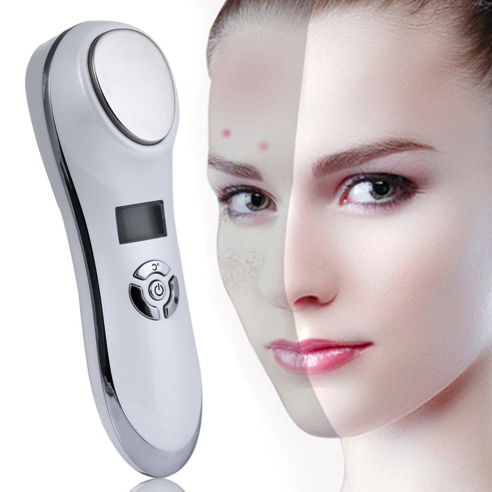 LZLRUN Rechargeable Face Ultrasonic Vibration Massager Hot Cold Hammer Home Use Beauty Equipment Wrinkle Acne Removal Skin Firming