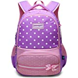 Elementary School Bag,Princess School Nylon Backpack - Ideal for 1-6 Grade School Students,Rucksack Backpack for Kids Toddlers Child Teens Daypacks Travel Bag(Flower Purple)