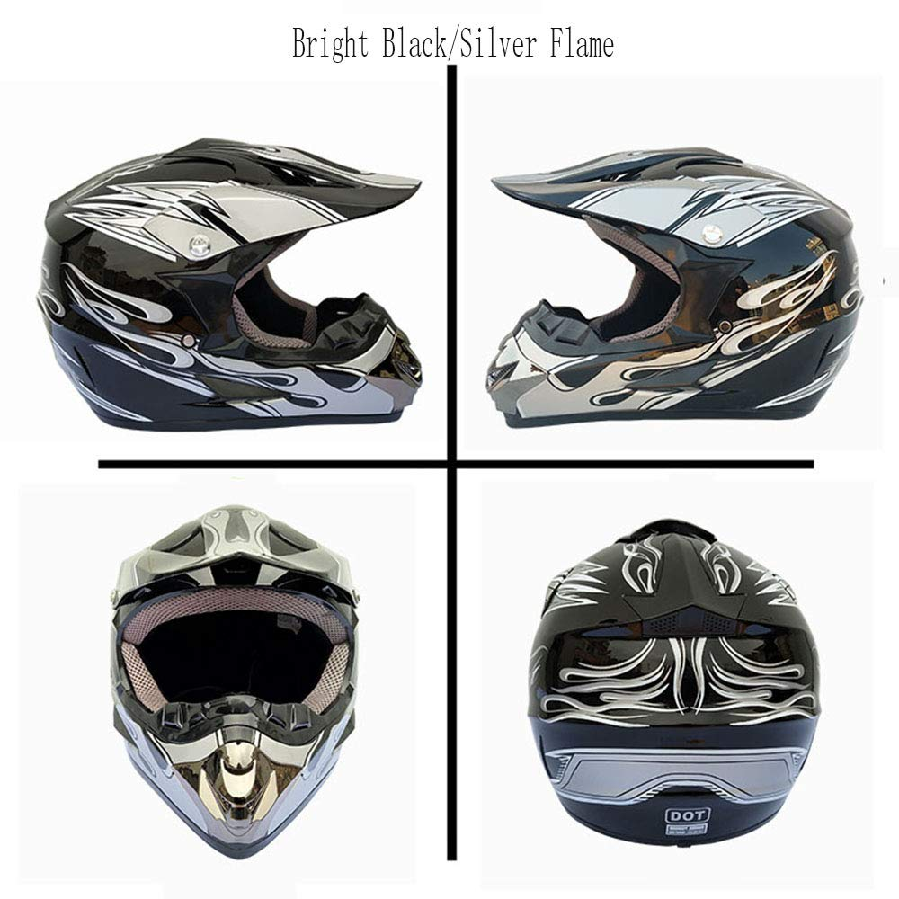 Bright Black/Silver,M MX ATV Dirt Bike Motocross UTV with Riding Gloves, Goggles,Mask shfmx Adult Motorcycle Off Road Helmet DOT
