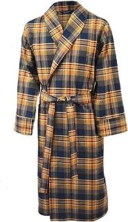 Lloyd Attree & Smith Men's Lightweight Brushed Cotton Dressing Gown - Navy, Wine & Beige Check
