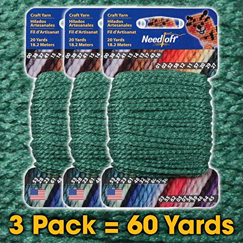 #28 Christmas Green - Needloft Craft Yarn 3 Pack 60 Yards (3x20yds)