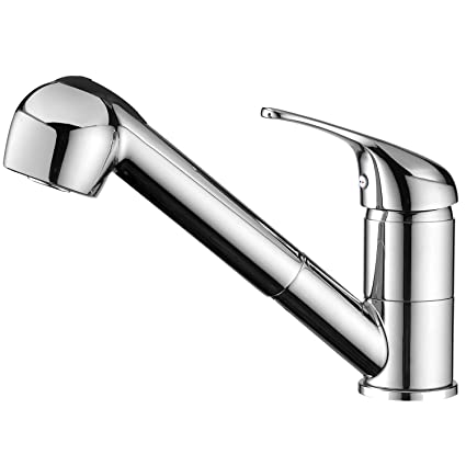 Gooao Modern Chrome Single Handle Stainless Steel Pull Out Sprayer