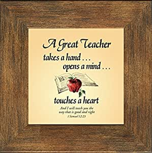 "Teacher Appreciation Frame Mahogany Burl 4.5""x4.5""Gift Inspirational with Built in Easel"