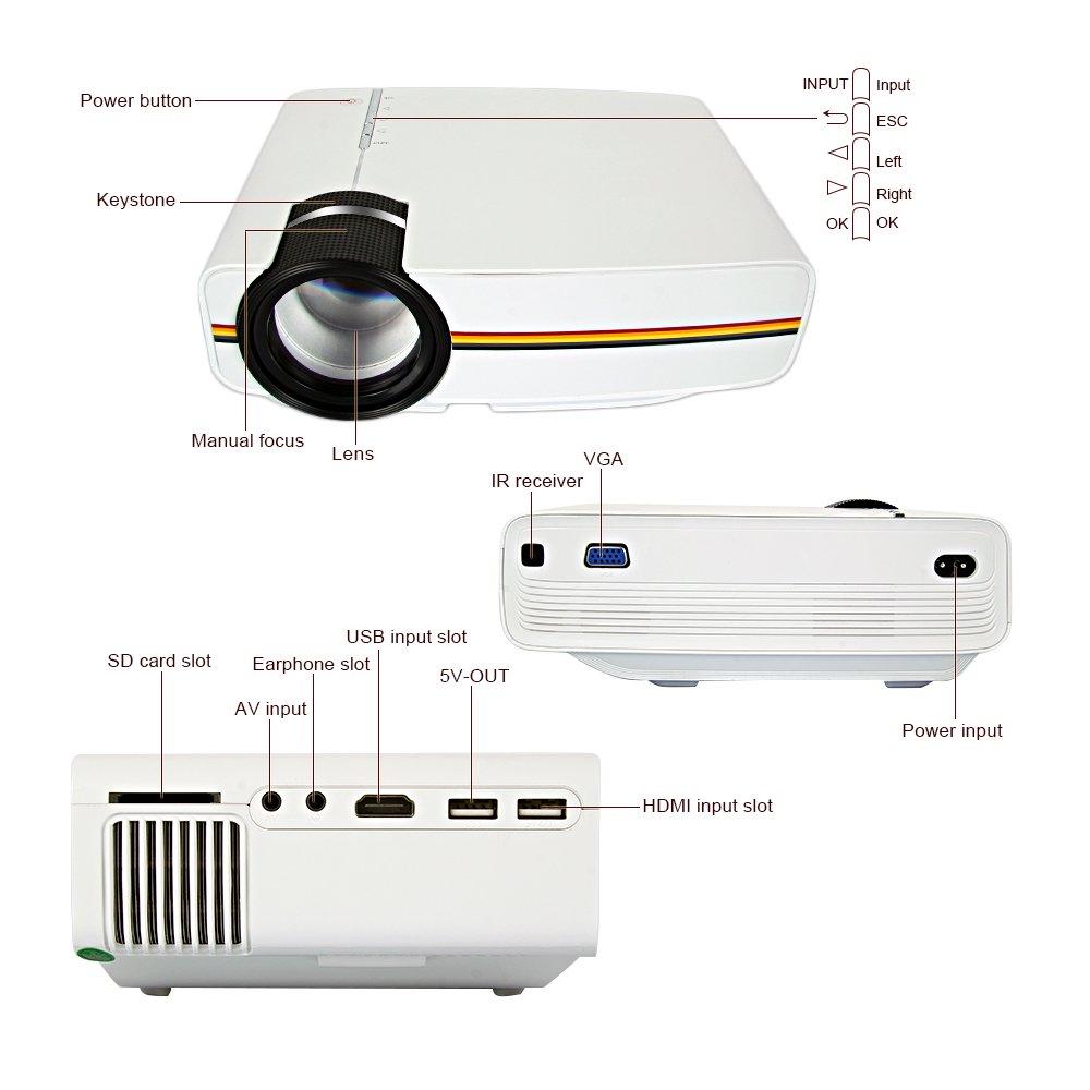 Quarice® Mini Proyector Portátil Resolución Física 800 * 480 ...