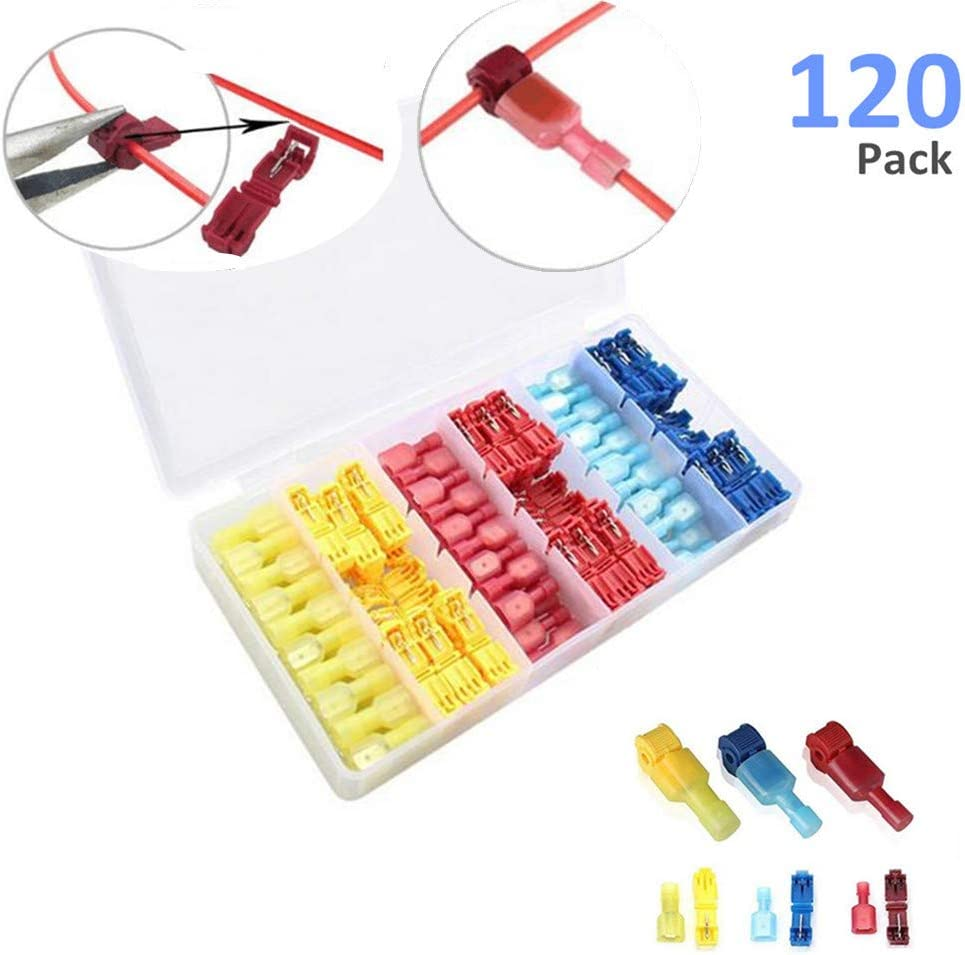 Insulated Male Quick Disconnect Spade Terminals Assortment Kit with Storage Case-60 Pairs Self-Stripping Quick Splice Electrical Wire Terminals Upgraded 120 PCS T-Tap Wire Connectors