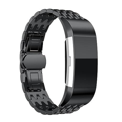 JANLY Pour Fibit Charge 2 Montre Connectée Bracelet en acier inoxydable (Noir): Amazon.fr: Sports et Loisirs