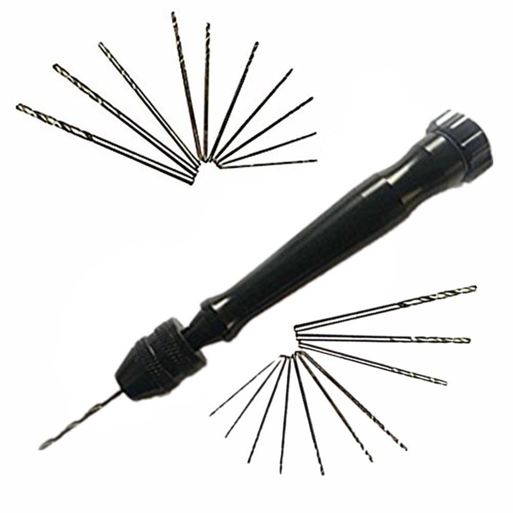 IEVE 21pcs Mini Micro Twist brocas Herramientas de mano Pin Vises Taladro Set con 20 taladros de torsió n