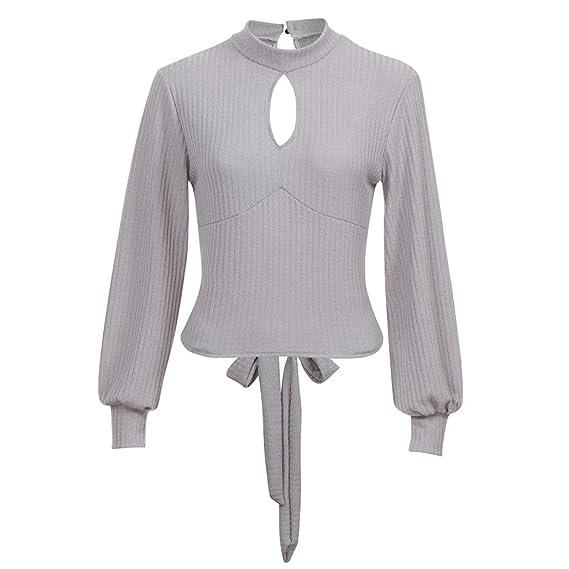 DOGZ Mujer Camisetas Color sólido Cuello Alto Tejer Espalda Abierta  Elegante Top Mujer Suéter Tipo con b6986a7fcfd9