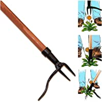 Grampa's Weeder - het originele opstaande onkruidtrekker met lang handvat - gemaakt met echt bamboe en 4-klauw stalen…
