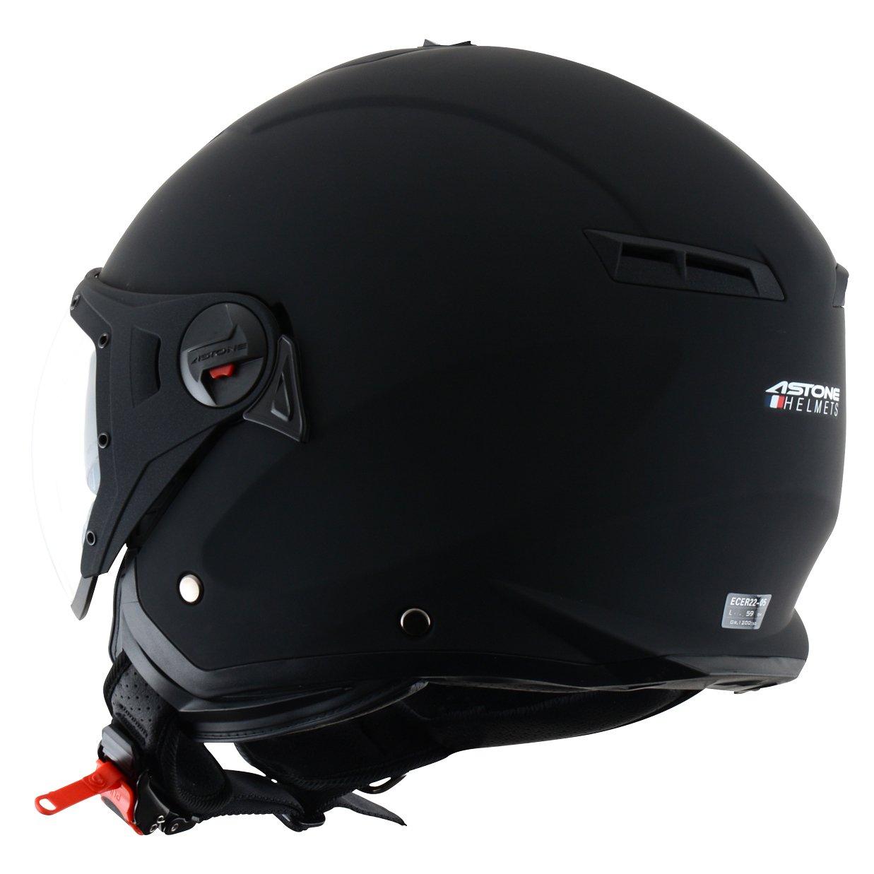 Casque de scooter mixte Casque jet compact Matt black MINIJET S SPORT monocolor Casque en polycarbonate Casque de moto look sport Astone Helmets