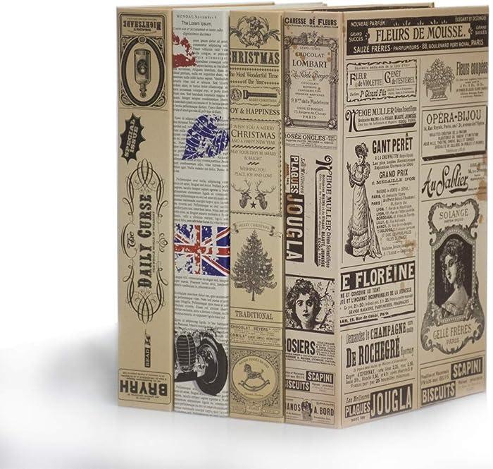 WAREORIGIN Decorative Book Boxes Home Bookshelf Diaplay Decor 4 Pack