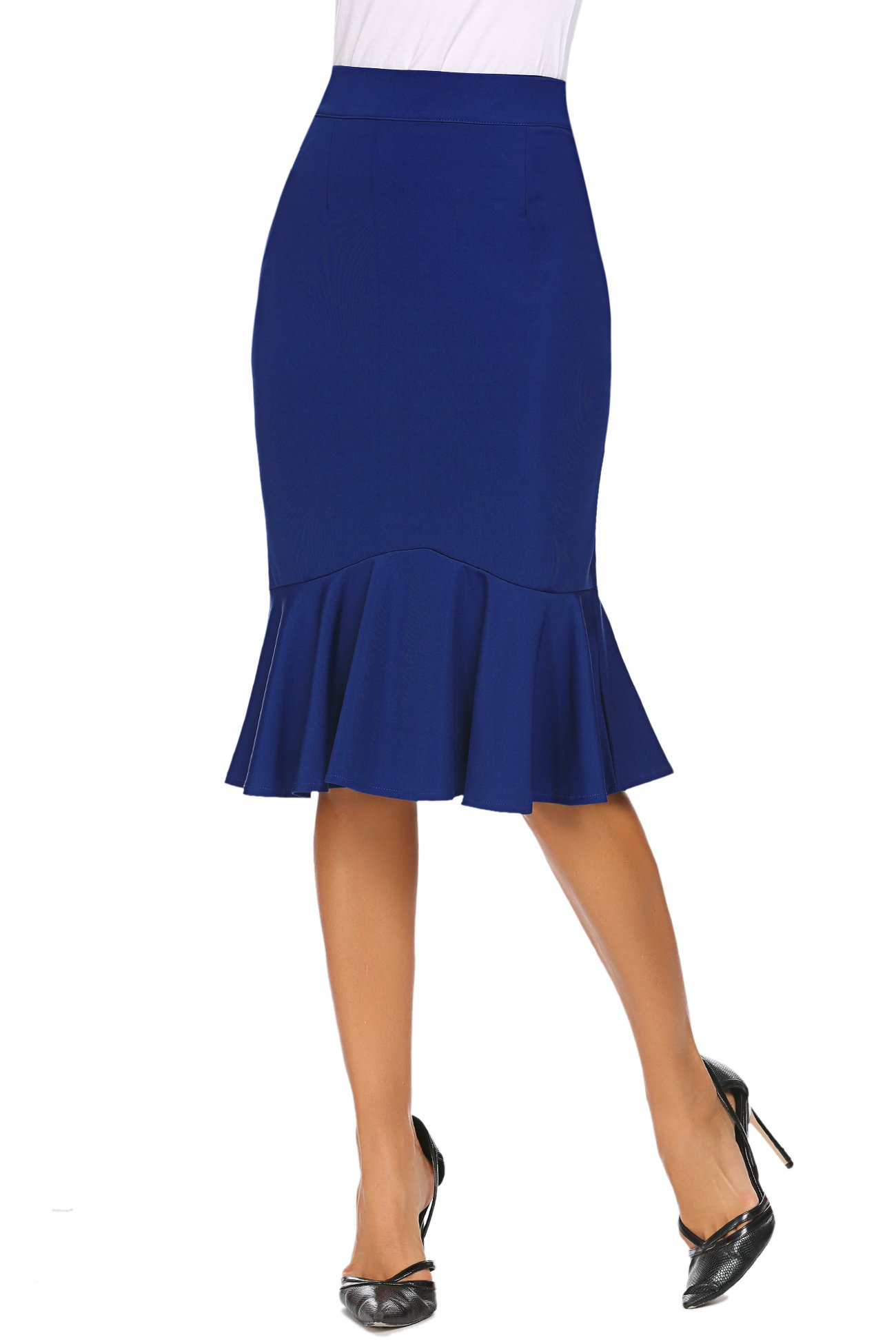 Women's Stretchy Wear to Work Pencil Skirt Slim Fit Business Skirt (S, Blue)