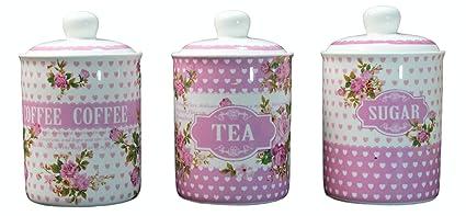 New Tea Coffee Sugar Canisters Jars Storage Green Red Black Blue