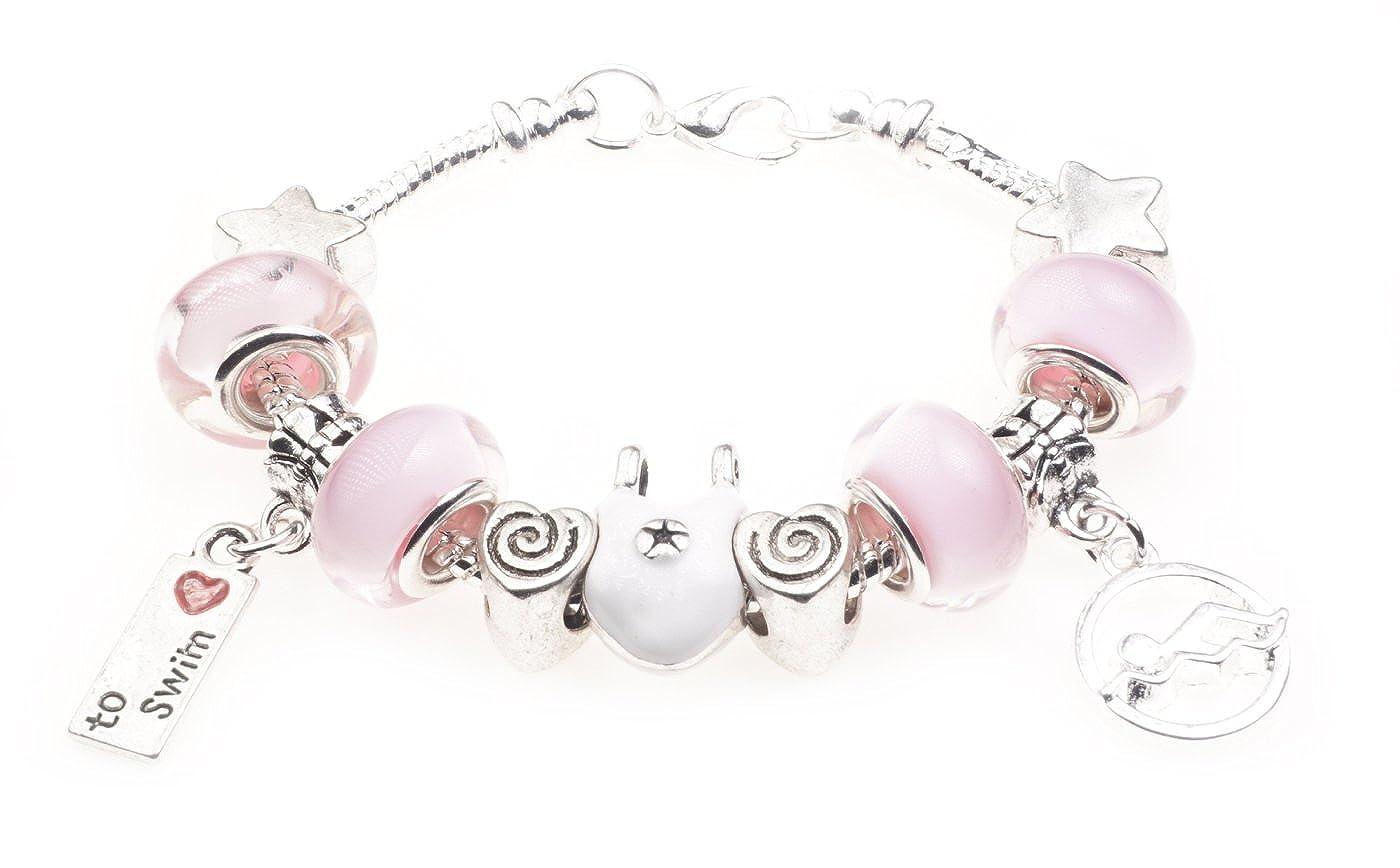 'I Love To Swim' Swimming Sport Themed Childrens Charm Bracelet with Gift Box Girls Jewellery Jewellery Hut BRkidsSwimming