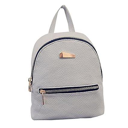 ... ,Bolso de Escuela Moda PU Cuero Mochila Bolsas de Viaje Pequeña Mochila mochila Escuela Libro Bolso de Hombro de Chicas (Gris): Amazon.es: Equipaje