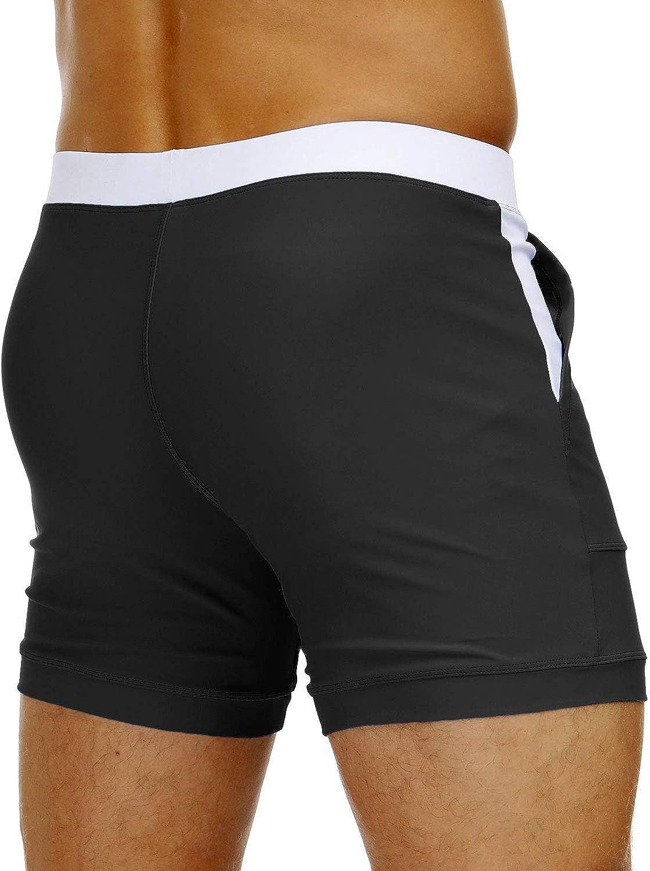 MAGNIVIT Mens Swimwear Swimsuits Solid Basic Long Swim Boxer Trunks Board Shorts with Pockets