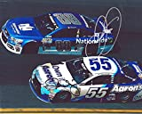 2X AUTOGRAPHED 2015 Dale Earnhardt Jr. & Michael Waltrip (#88 Nationwide / #55 Aarons) ON-TRACK RACING Signed Picture NACAR Glossy 8X10 Inch Photo with COA