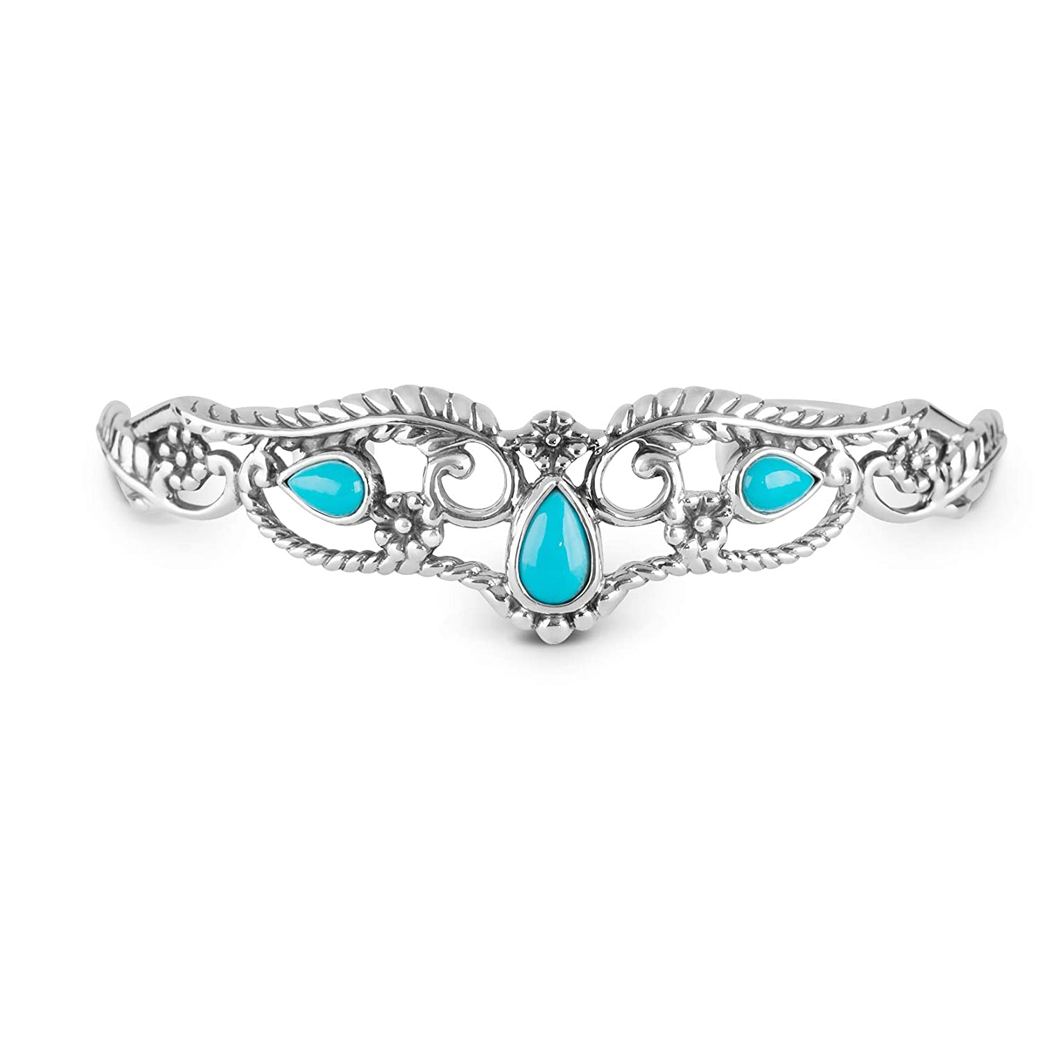 American West Sterling Silver Blue Sleeping Beauty Turquoise Gemstone Leaf and Flower Cuff Bracelet Size S, M or L