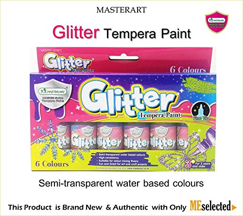 Gold Coloured Costumes Jewellery (GLITTER TEMPERA PAINT Semi-transparent water base 6 Colours (6x1oz))