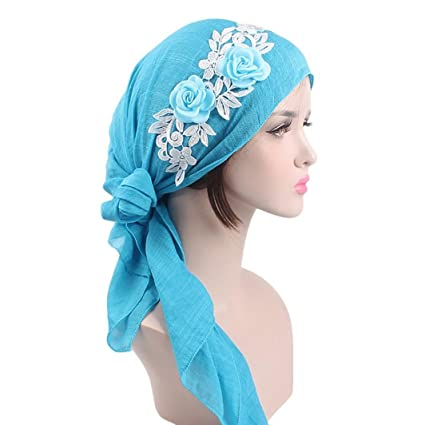 a3795b0f7a6 Image Unavailable. Image not available for. Color  Sothread Women s Muslim Scarf  Hat Stretch Turban Long Tail Headwear for Cancer Chemo ...