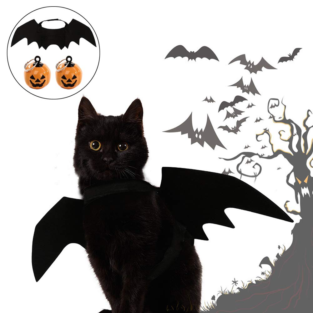 Petift Cat Costume Halloween Cats Dogs Pet Bat Wings,Pet Apparel Cat Costume,Black Vampire Wings Fancy Dress 2pcs Pumpkin Bell,DIY Halloween Decorations Ornament Jewelry Charms Pendant Kitty,Puppy