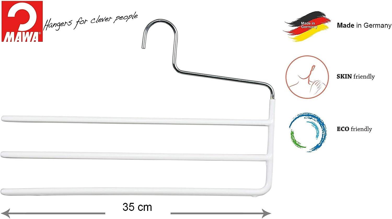 T/ücher und Krawatten 35 cm MAWA Hosenb/ügel platzsparende Universalb/ügel mit DREI ummantelten Stegen f/ür Hosen 10 St/ück Schwarz hochwertige Antirutsch-Beschichtung