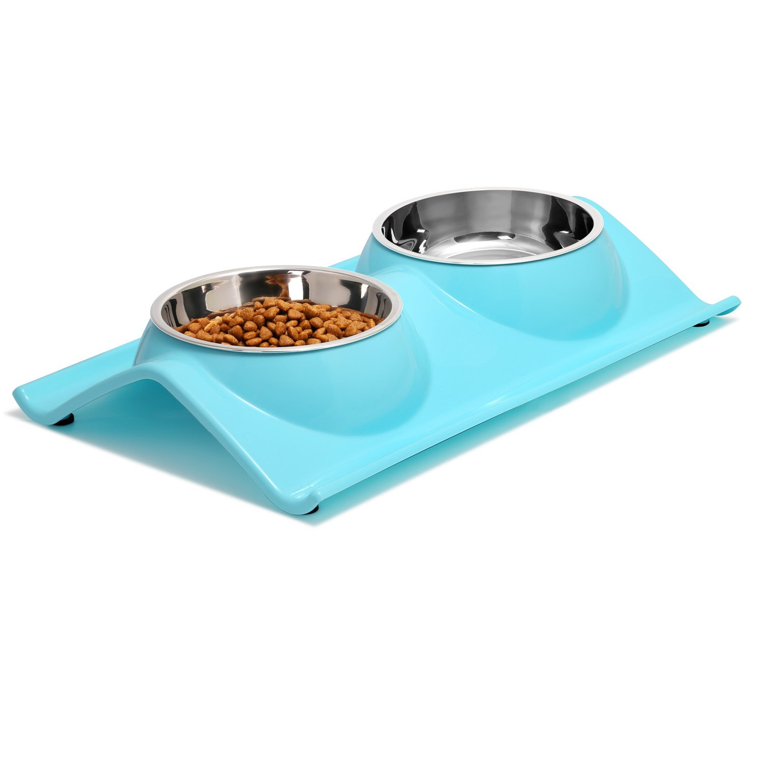 UPSKY Double Dog Cat Bowls Premium Stainless Steel Pet Bowls with No-Spill Resin Station, Food Water Feeder for Cats and Small Dogs, Sky Blue