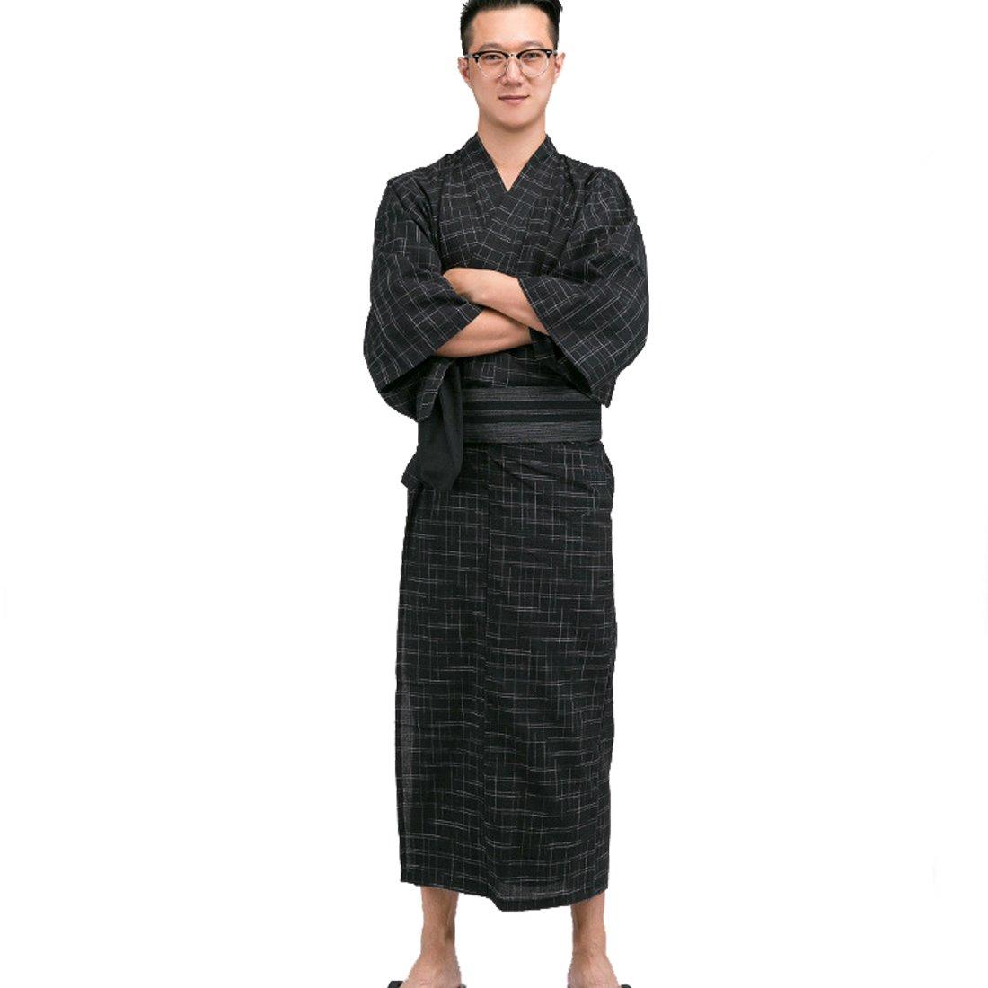 MAYSONG Japanese Yukata Kimono Robe OBI Belt Mens Yukata Set M Square Pattern