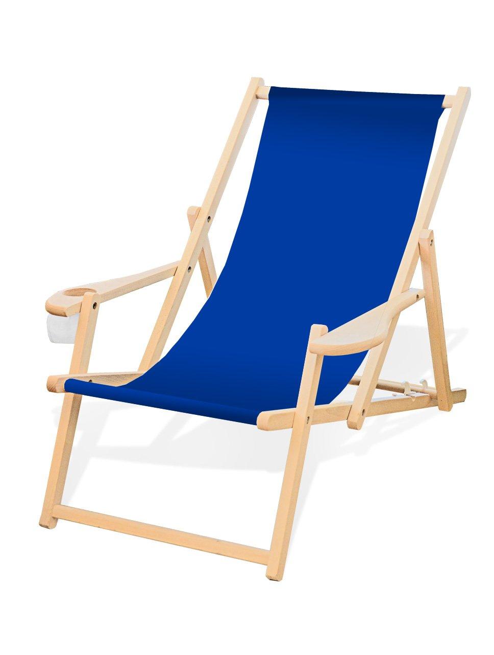 Amazon.de: Holz-Liegestuhl mit Armlehne und Getränkehalter, Klappbar ...