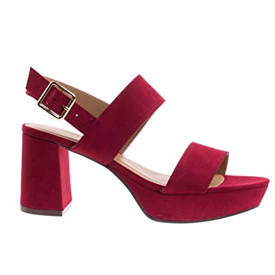 cd97f2ffcc Amazon.com | Camile04S Red Retro Chunky Low Block Heel Platform Dress Sandal  w Sling Back Buckle -5.5 | Sandals