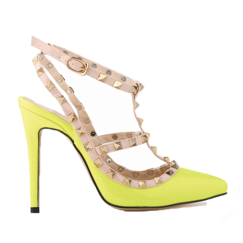 Gentlemen/Ladies Euochengqus Fashion High-Heeled Pointed Toe Hasp Thin Heels Heels Heels Women Sandals Rivet Pointed Toe Shoes Durable service Medium cost Superb craftsmanship NR8263 f65e53