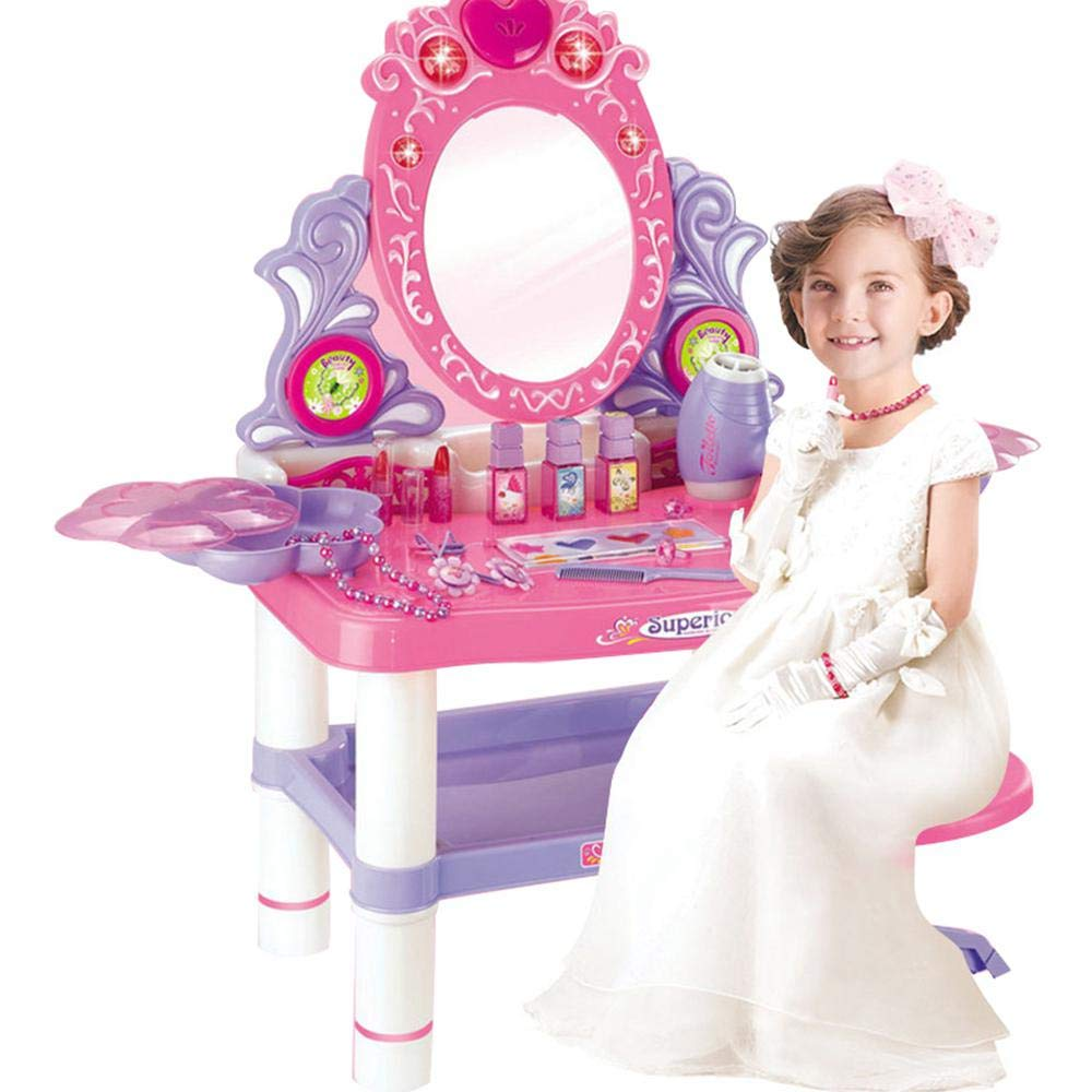 Ceepko Girls Vanity, Girls Vanity Set with Mirror and Stool, Pretend Vanity Accessories, Super Cute Pink Princess Makeup Vanity Table,Flashing Lights,Mirror,Cosmetics,Hair Dryer,Jewelry Toy for Girls