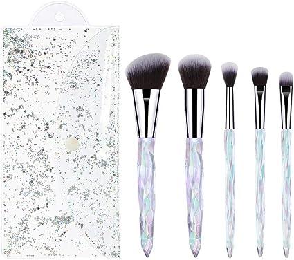 Juego de brochas de maquillaje: 5 brochas de maquillaje profesionales con soporte para pinceles, elegante estuche presentado en una hermosa caja de regalo para damas: Amazon.es: Belleza