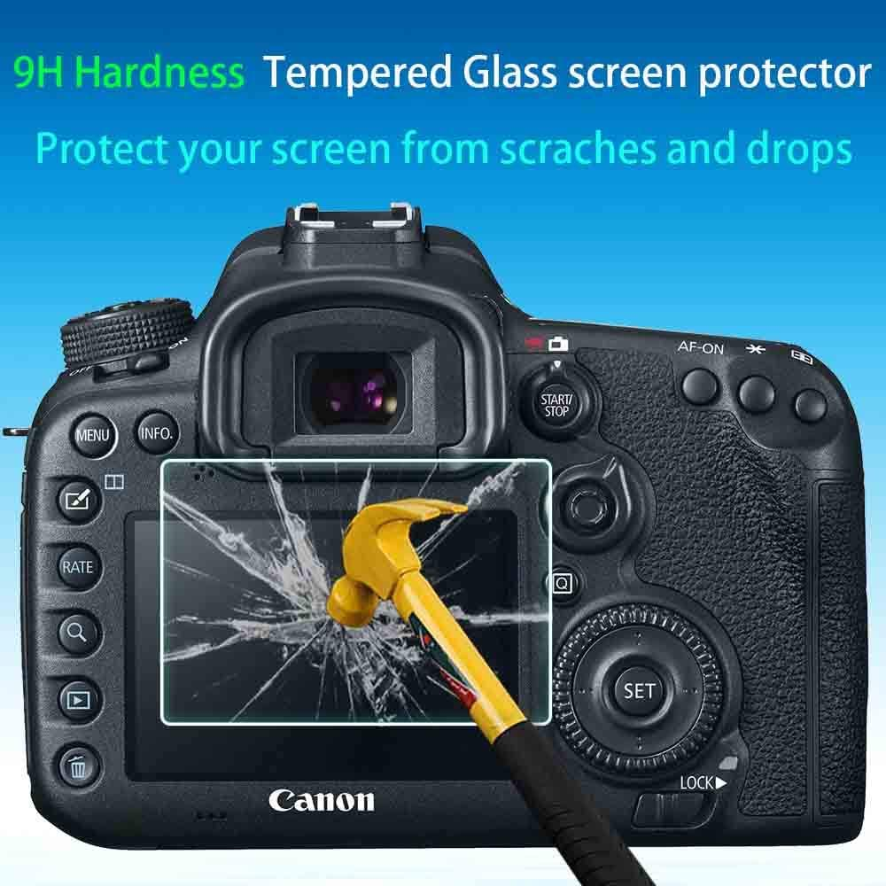 3 Pack 0.3mm 9H Hardness Tempered Glass Screen Protector,Anti-Scrach Anti-Fingerprint Anti-Dust Anti-Bubble ULBTER Screen Protector for Canon EOS 7D Mark II 6D Mark II Camera /& Hot Shoe Cover