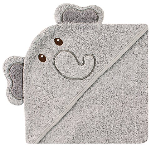 (Luvable Friends Animal Face Hooded Towel, Elephant)