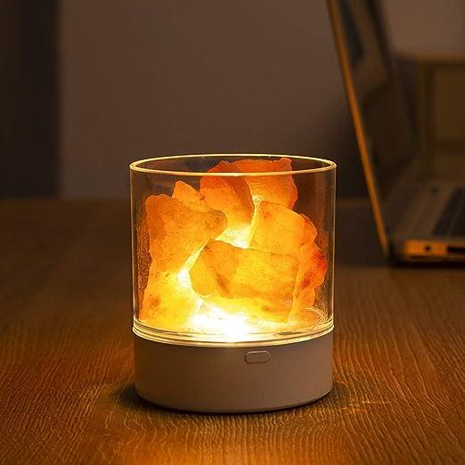 OGGID Lámpara LED de Sal de Cristal Natural Purificador de Aire ...