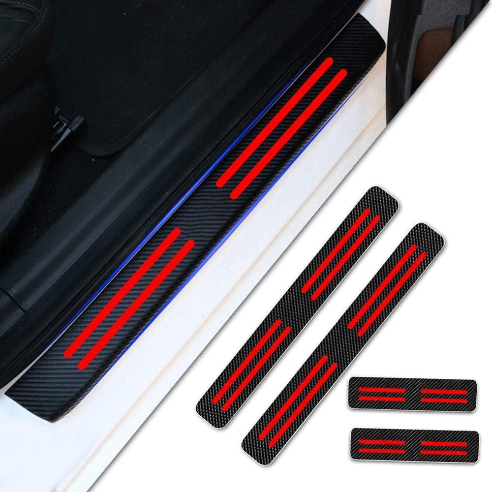 Tuqiang 4 Piezas Umbral De La Puerta Protectores 4D Fibra de Carbono Adhesiva Pegatinas para Ecosport Edge Fiesa Focus
