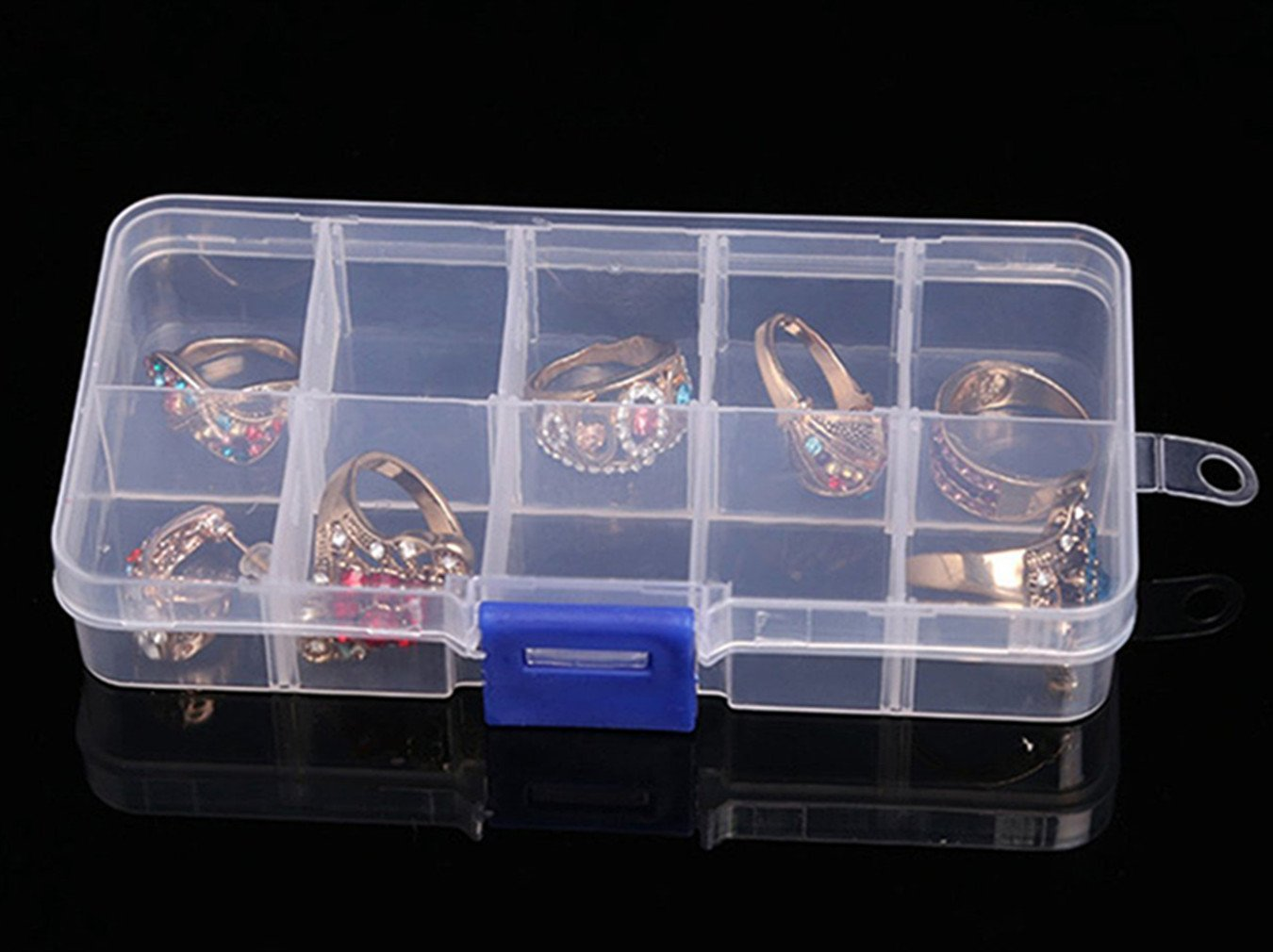 ReachTop Jewelry Box Organizer Storage Container with Adjustable Dividers 8 Pack 10 Grids Clear Bead Organizer Plastic Jewelry Storage Containers for Women