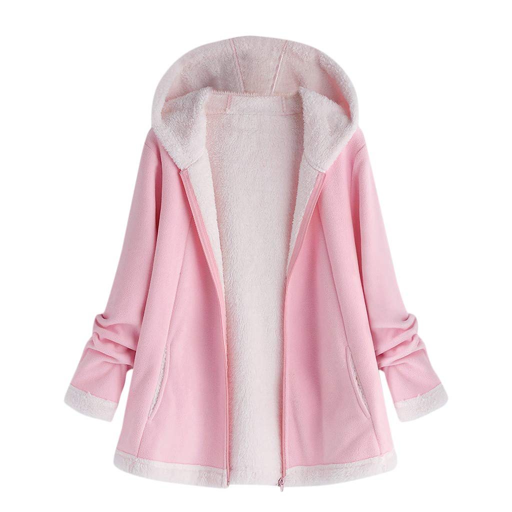 aihihe Plus Size Coats Jackets for Women Witer Warm Fluff Lining Zip Up Solid Short Coat Outerwear Parka with Pockets Pink by aihihe Outerwear