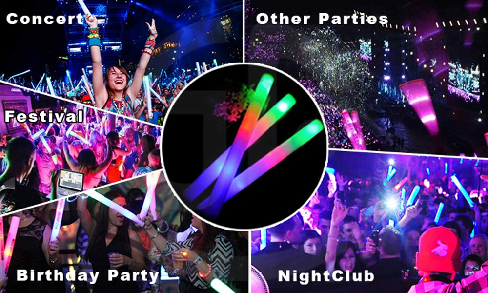 100 Pack of 18 Inch Multi Color Flashing Glow LED Foam Sticks, Wands, Batons - 3 Modes Multi-Color - Party Flashing Light DJ Wands, Concert, Festivals, Birthdays, Party Supplies, Weddings, Give Aways by 888Warehouse (Image #2)