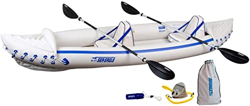 Sea Eagle 370 Pro 3 Person Inflatable Portable Sport Kayak Canoe Boat w Paddles