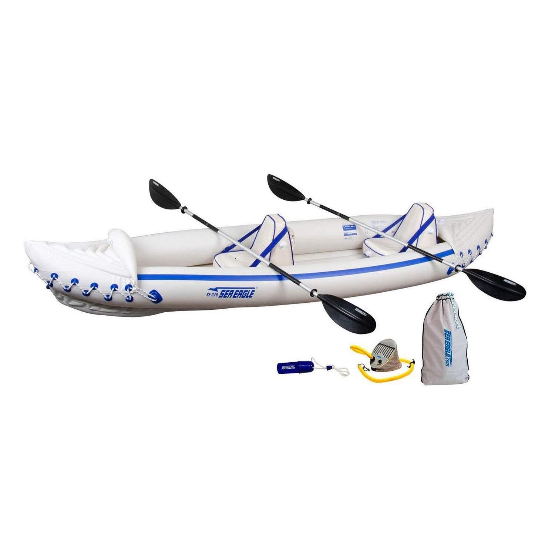 Sea Eagle 370 Pro 3 Person Inflatable Portable Sport Kayak Canoe Boat w/ Paddles by Sea Eagle