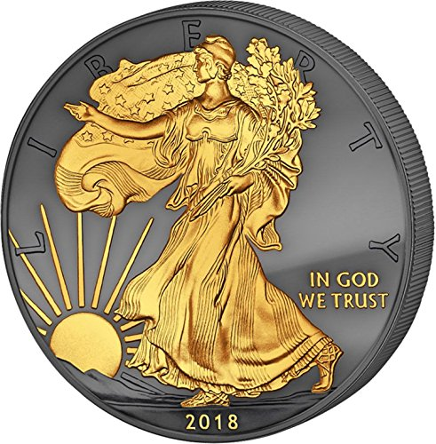 2018 Golden Enigma Walking Liberty silver dollar 24K Gilded $1 Superb Gem ()