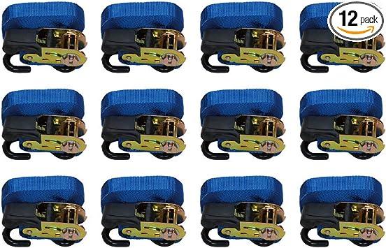 Blue 500 Lbs Load Cap,1,500 Lbs Break Strength 12-Pack Basics 15-Feet Ratchet Tie Downs