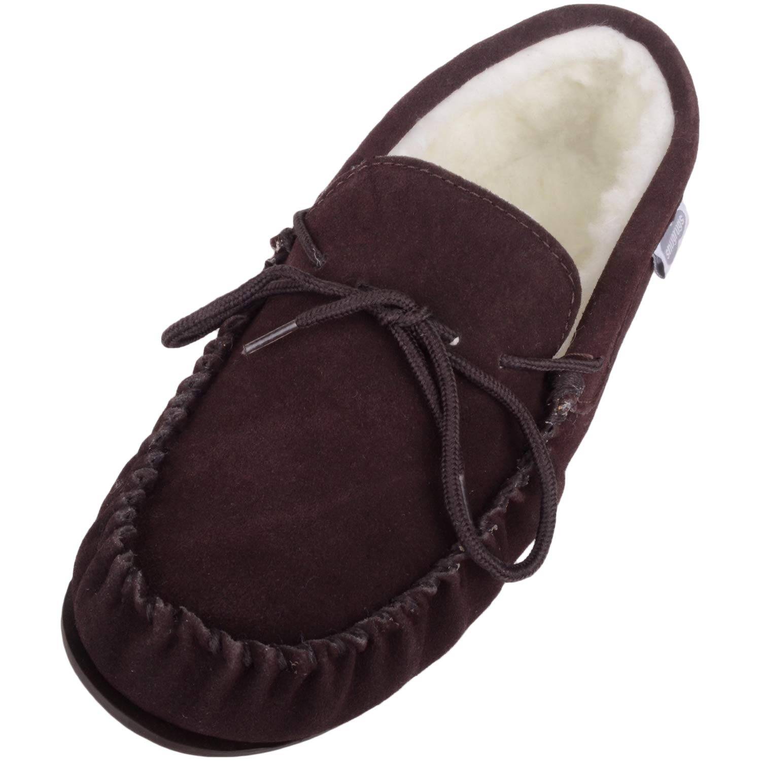 SNUGRUGS Wool Lined Suede Moccasin with Rubber Sole, Chaussons Homme ADMRS