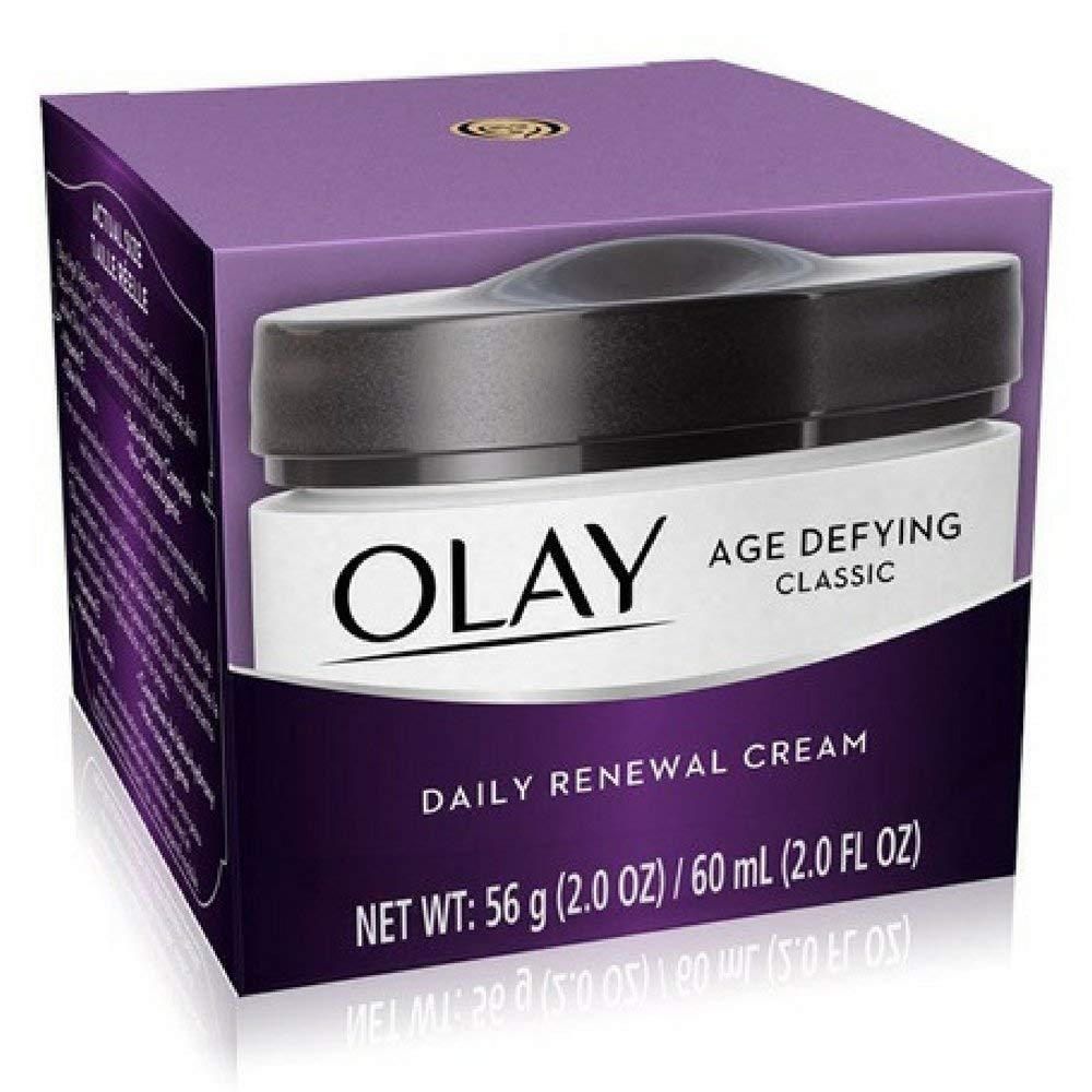 OLAY Age Defying Anti-Wrinkle Replenishing Night Cream 2 oz (Pack of 2) Menscience - Advanced Face Lotion - 100ml/3.4oz
