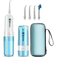 GEEDIAR Irrigador Bucal, Irrigador Dental Portátil USB Recargable Eléctrico Inalámbrico IPX7 Impermeable 150ml Irrigador Oral con 5 Boquillas y Nariz, Aprobado por la FDA, Azul / Blanco