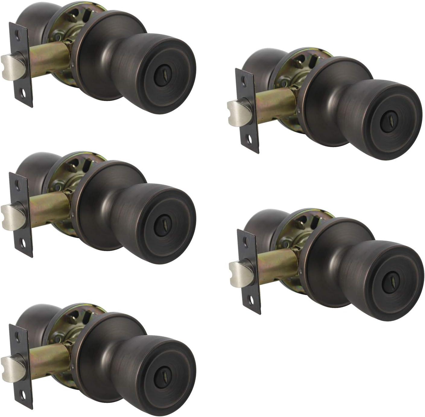 1 Pack Probrico Interior Bathroom Privacy Keyless Doorknobs Door Lock Lockset 607-ORB-BK in Oil Rubbed Bronze